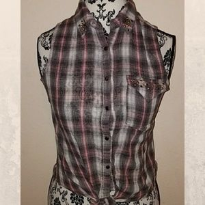 Tops - Gray and pink plaid button down sleeveless Small